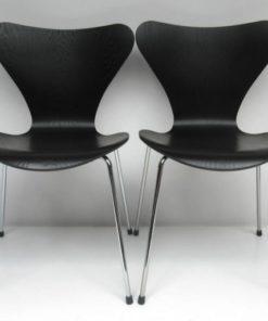 Vlinderstoel 2x Arne Jacobsen Zwart Lazuur-2