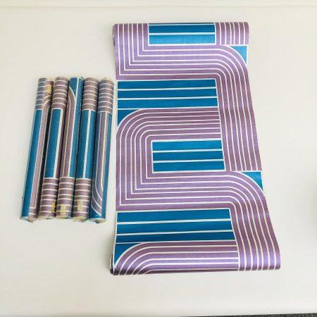 Seventies behang Blauw/Paars/Zilver