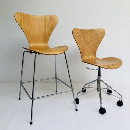 Vintage Set Arne Jacobsen Barstool en Bureaustoel