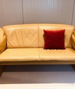 Leren Bank Tweezits.Jori Design Vintage Twee Zits Leren Bank In Geel Hello Design
